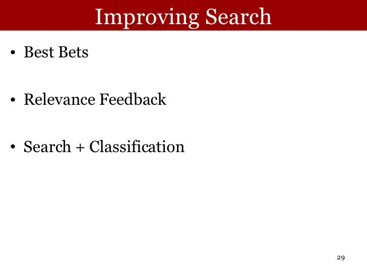 Improving Search <ul><li>Best Bets </li></ul><ul><li>Relevance Feedback </li></ul><ul><li>Search + Classification </li></ul>