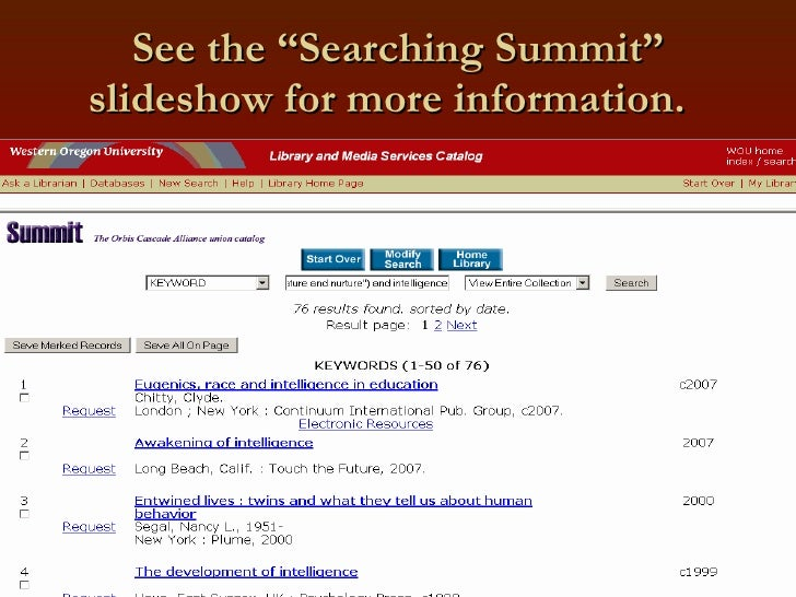 """See the """"Searching Summit"""" slideshow for more information."""