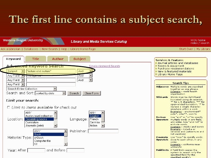 The first line contains a subject search,