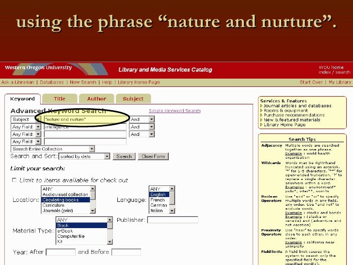 """using the phrase """"nature and nurture""""."""