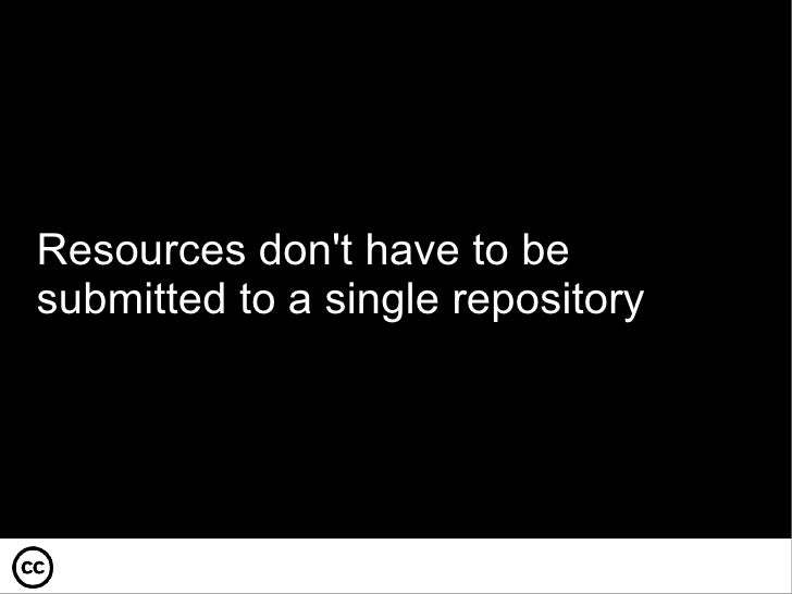 Resources don't have to be submitted to a single repository