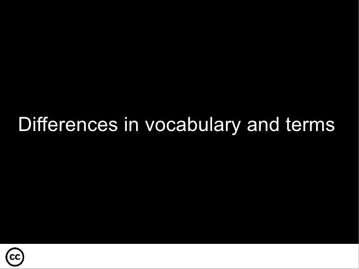 Differences in vocabulary and terms