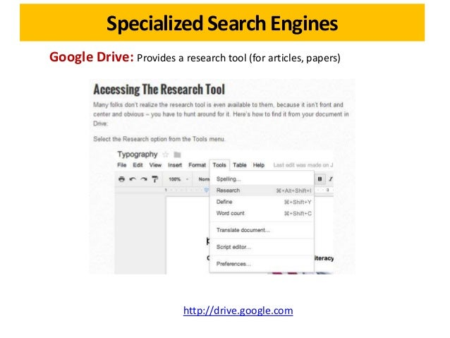 specialized search engines slideshare a