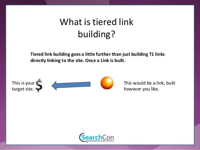 This would be the Tiered link building goes a little further than just building T1 links directly linking to the site. Onc...