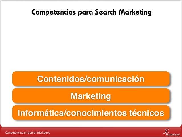 Competencias para Search Marketing  Contenidos/comunicación Marketing Informática/conocimientos técnicos Competencias en S...