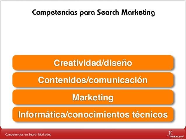 Competencias para Search Marketing  Creatividad/diseño Contenidos/comunicación Marketing Informática/conocimientos técnico...