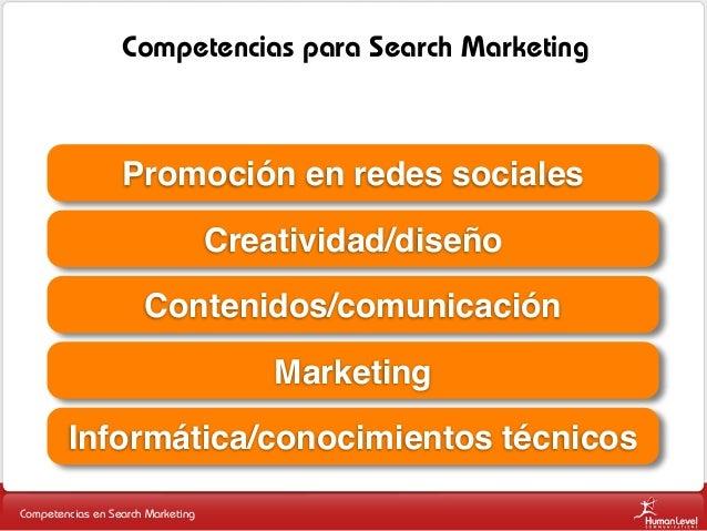 Competencias para Search Marketing  Promoción en redes sociales Creatividad/diseño Contenidos/comunicación Marketing Infor...