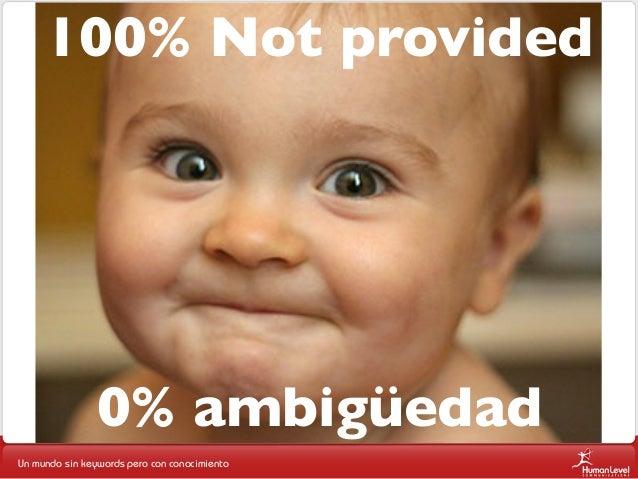 100% Not provided  0% ambigüedad Un mundo sin keywords pero con conocimiento