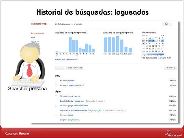 Historial de búsquedas: logueados  Searcher persona  Contexto / Usuario