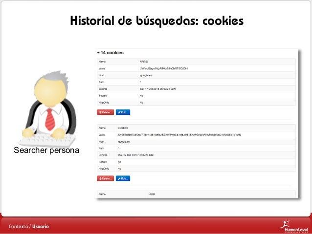 Historial de búsquedas: cookies  Searcher persona  Contexto / Usuario