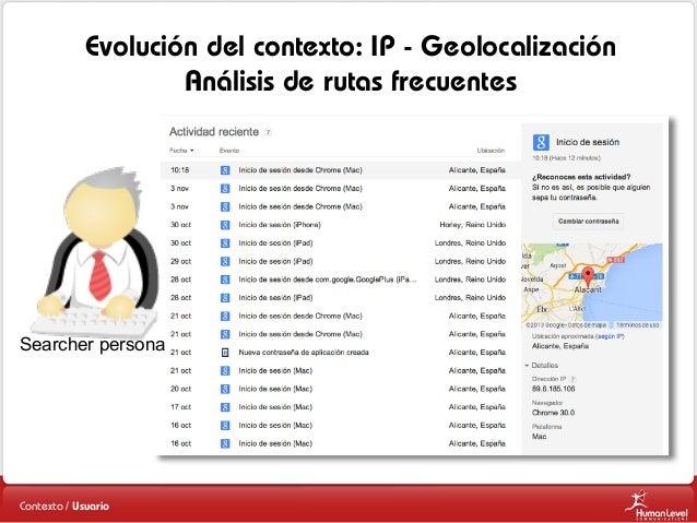 Evolución del contexto: IP - Geolocalización Análisis de rutas frecuentes  Searcher persona  Contexto / Usuario