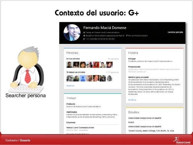Contexto del usuario: G+  Searcher persona  Contexto / Usuario