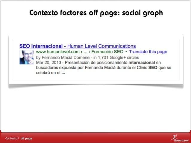 Contexto factores off page: social graph  Contexto / off page