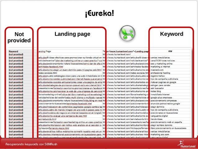 ¡Eureka! Not provided  Landing page  Recuperando keywords con SEMRush  Keyword