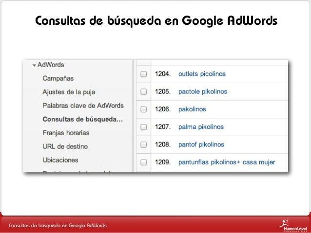 Consultas de búsqueda en Google AdWords  Consultas de búsqueda en Google AdWords
