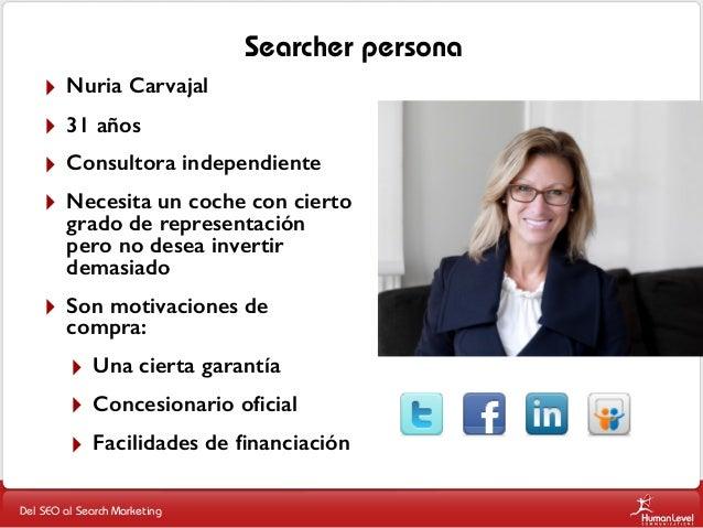 Searcher persona ‣ ‣ ‣ ‣  Nuria Carvajal  ‣  Son motivaciones de compra:  31 años Consultora independiente Necesita un coc...