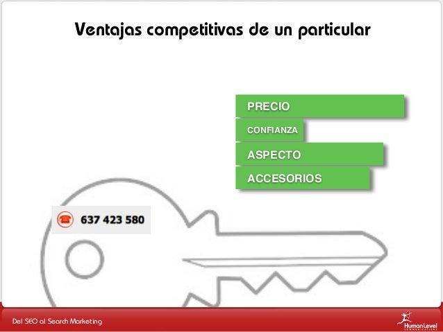 Ventajas competitivas de un particular  PRECIO CONFIANZA  ASPECTO ACCESORIOS  Del SEO al Search Marketing