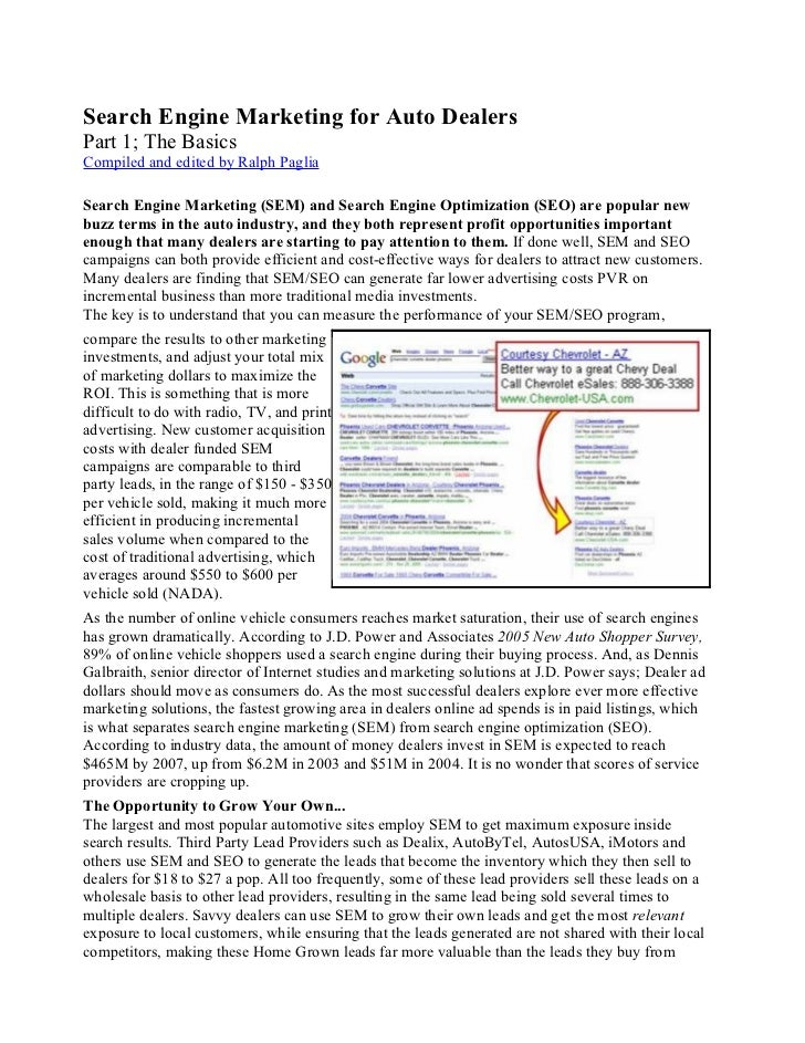 Search Engine Marketing for Auto Dealers Part 1; The Basics Compiled and edited by Ralph Paglia  Search Engine Marketing (...