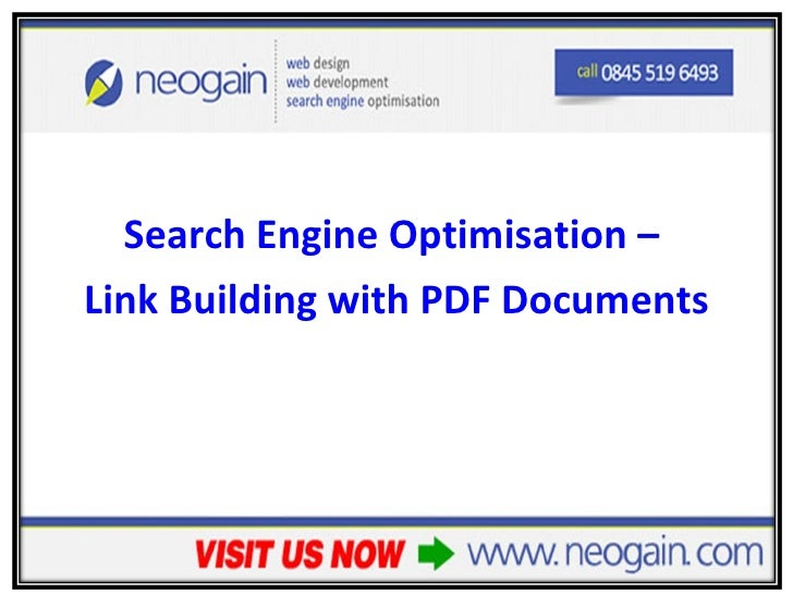 <ul><li>Search Engine Optimisation –  </li></ul><ul><li>Link Building with PDF Documents </li></ul>