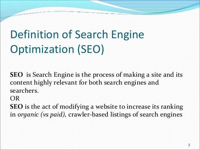 search engine optimization essay Read search engine optimization free essay and over 88,000 other research documents search engine optimization search engine optimization (seo) is the process of.