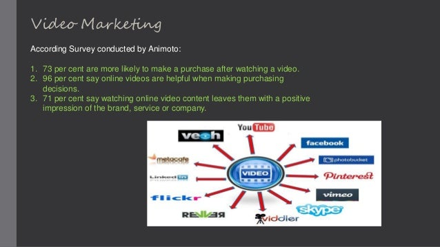 Video Marketing According Survey conducted by Animoto: 1. 73 per cent are more likely to make a purchase after watching a ...
