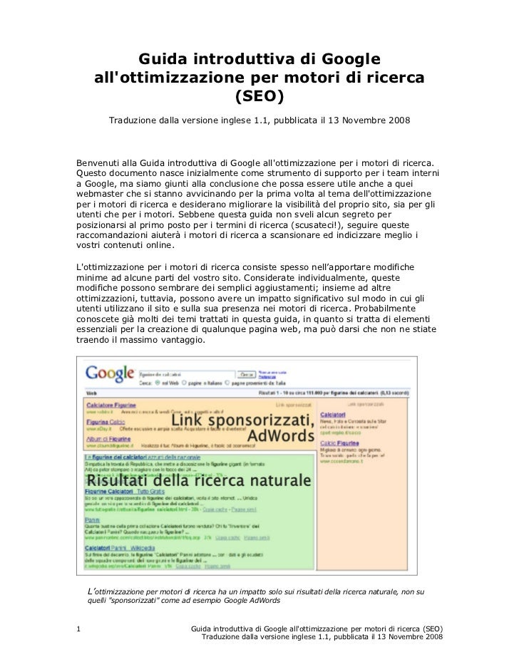 Guida introduttiva di Google     allottimizzazione per motori di ricerca                      (SEO)          Traduzione da...