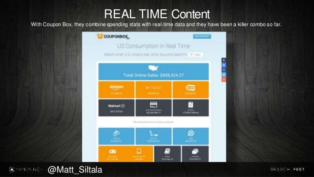 REAL TIME Content With Coupon Box, they combine spending stats with real-time data and they have been a killer combo so fa...