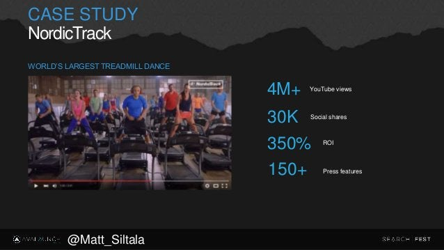 CASE STUDY NordicTrack YouTube views 4M+ Social shares 30K ROI 350% Press features150+ WORLD'S LARGEST TREADMILL DANCE @Ma...