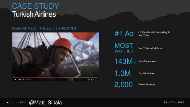 CASE STUDY TurkishAirlines YouTube views 143M+ Social shares 1.3M Press features 2,000 KOBE VS. MESSI: THE SELFIE SHOOTOUT...