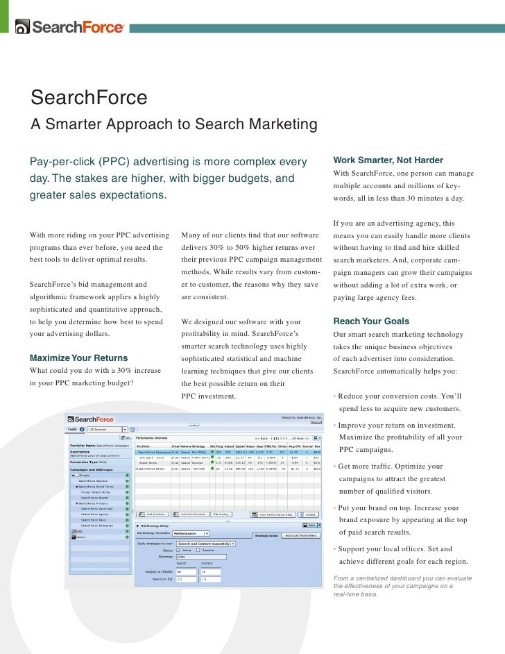 SearchForce A Smarter Approach to Search Marketing  Pay-per-click (PPC) advertising is more complex every                 ...