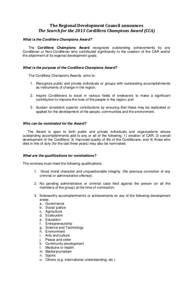 The Regional Development Council announces            The Search for the 2013 Cordillera Champions Award (CCA)What is the ...