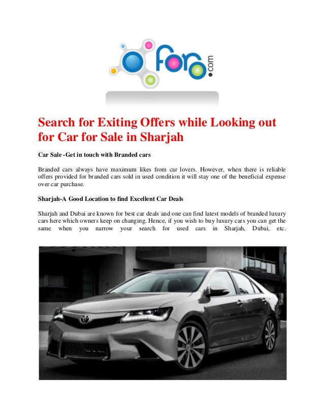 Search for Exiting Offers while Looking out for Car for Sale in Sharj…