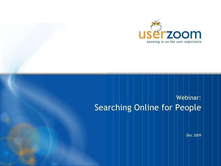 Webinar: Searching Online for People Dec 2009 26/02/10