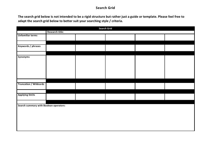 Search GridThe search grid below is not intended to be a rigid structure but rather just a guide or template. Please feel ...
