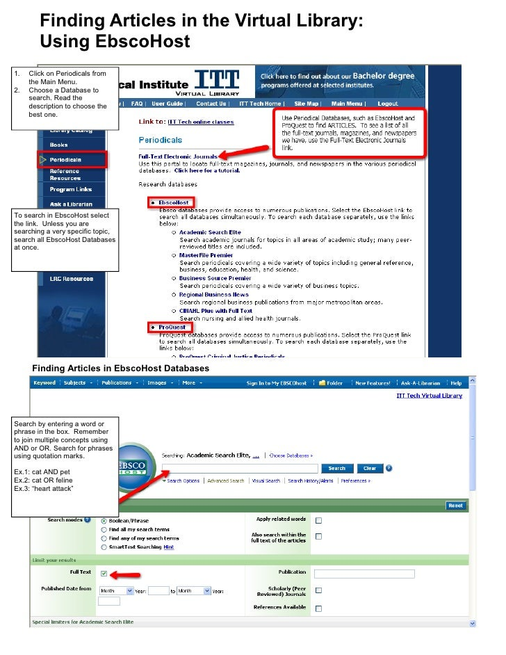 Finding Articles in the Virtual Library:         Using EbscoHost 1.   Click on Periodicals from      the Main Menu. 2.   C...