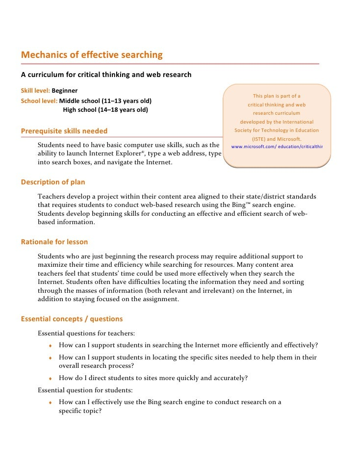 Mechanics of effective searching A curriculum for critical thinking and web research Skill level: Beginner                ...