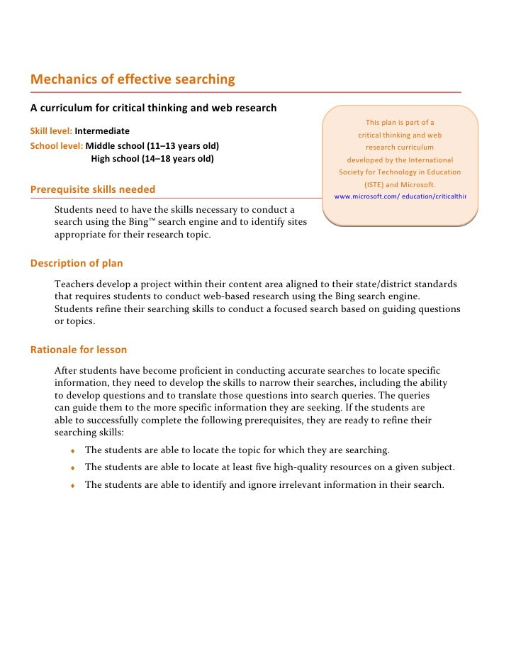 Mechanics of effective searching A curriculum for critical thinking and web research                                      ...