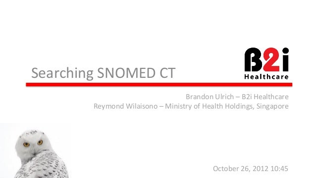 Searching  SNOMED  CT  Brandon  Ulrich  –  B2i  Healthcare  Reymond  Wilaisono  –  Ministry  of  Health  Holdings,  Singap...