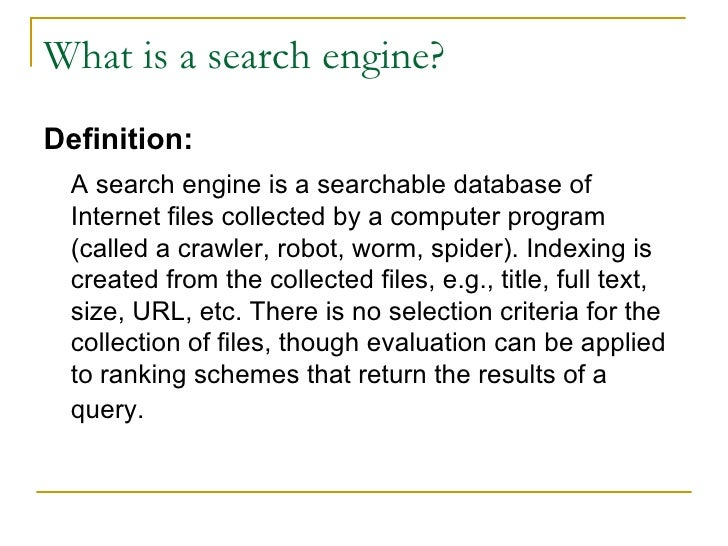 What is a search ...
