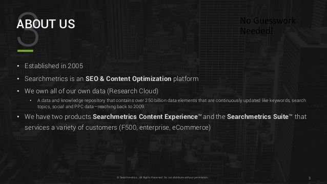Searchmetrics Traffic and Brand Awareness using the Searchmetrics Suite Slide 3