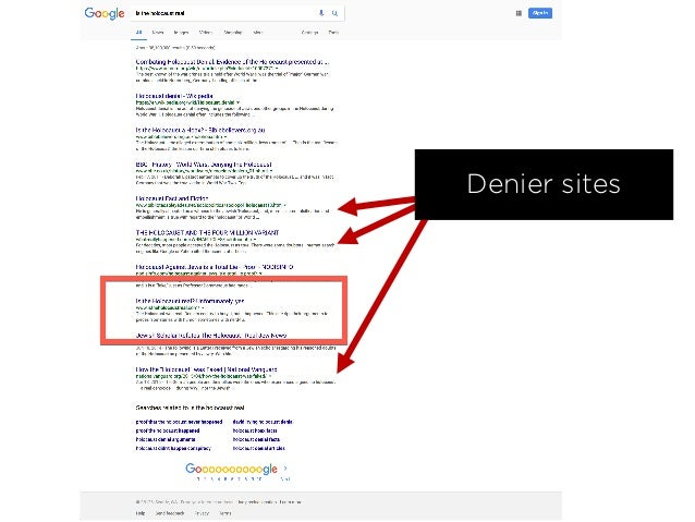 Longer-term Result 10 hours' work 3 deniers pushed down 1 spot in the SERPs 1 denier pushed off page one