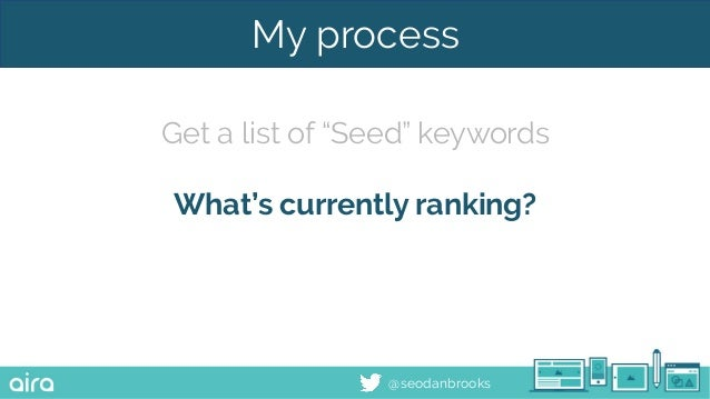 """@seodanbrooks My process Get a list of """"Seed"""" keywords What's currently ranking?"""