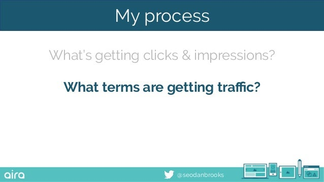 @seodanbrooks My process What's getting clicks & impressions? What terms are getting traffic?