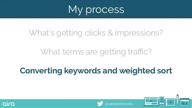 @seodanbrooks My process What's getting clicks & impressions? What terms are getting traffic? Converting keywords and weight...