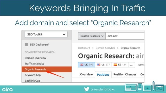 """@seodanbrooks Keywords Bringing In Traffic Add domain and select """"Organic Research"""""""
