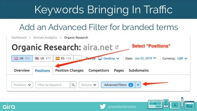 @seodanbrooks Keywords Bringing In Traffic Add an Advanced Filter for branded terms