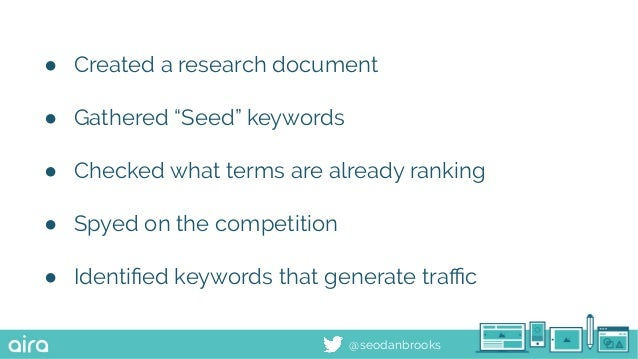"""@seodanbrooks ● Created a research document ● Gathered """"Seed"""" keywords ● Checked what terms are already ranking ● Spyed on..."""
