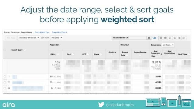 @seodanbrooks Adjust the date range, select & sort goals before applying weighted sort