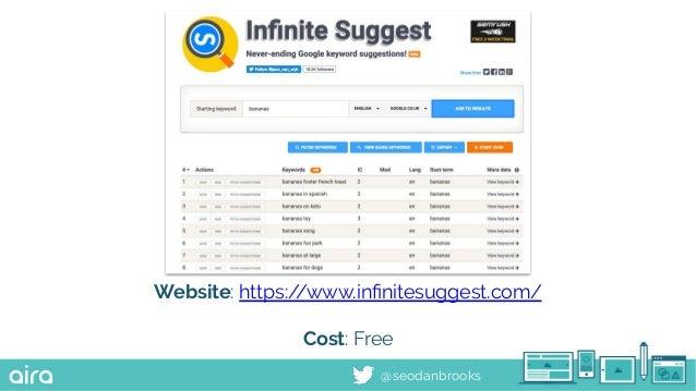@seodanbrooks Website: https://www.infinitesuggest.com/ Cost: Free