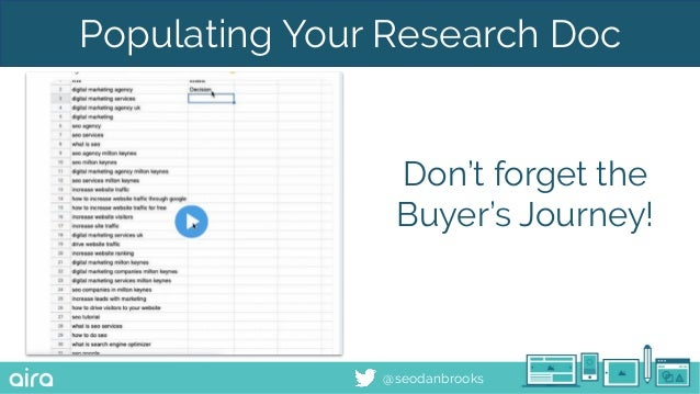 @seodanbrooks Populating Your Research Doc Don't forget the Buyer's Journey!